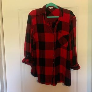 Buffalo checker print flannel with button up back
